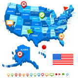 Unite States (USA) 3D, flag and navigation icons - illustration. Royalty Free Stock Images