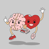 Unite together heart and brain will get success and happy, hand drawn vector Stock Photo