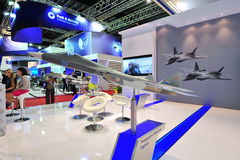 United Aircraft Corporation (UAC) booth showcasing its prospective multi-role fighter model at Singapore Airshow Stock Photography
