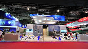 United Aircraft Corporation (UAC) booth showcasing military and commercial products at Singapore Airshow Royalty Free Stock Images