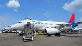United Aircraft Corporation (UAC) Sukhoi Superjet 100 on display at Singapore Airshow Stock Images