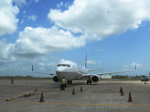 United airline plane landed at Philip S W Goldson Airport in Belize Stock Image
