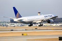 United Airlines Боинг приезжает в Чикаго Стоковое Изображение