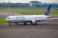 United Airlines. AMSTERDAM, NETHERLANDS - JULY 11, 2017: United Airlines Boeing 767-300 at Schiphol Airport in Amsterdam. Schiphol is the 12th busiest airport in Royalty Free Stock Photo