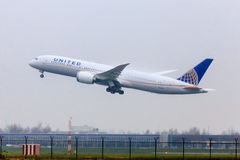 United Airlines Boeing 787 Royaltyfria Foton