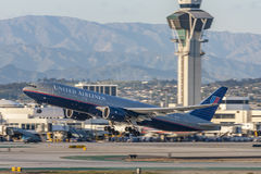United Airlines Boeing 777 airplane taking off from Los Angeles International Airport. Stock Image
