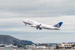 United Airlines Boeing 747 flygplan Arkivfoton