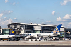 United Airlines Boeing 747 at Frankfurt Airport Stock Photos