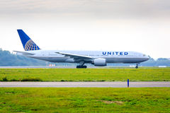 United Airlines Boeing 777. Boeing 777-200 of United Airlines taxiing stock photo
