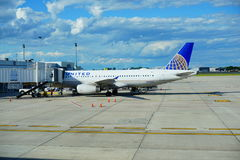 United Airlines. At Boston International Airport Royalty Free Stock Photos