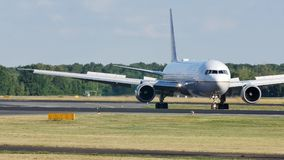 United Airlines doing taxi on the runway. United Airlines doing taxi on Munich Airport, MUC, Germany stock footage