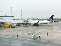 United Airlines Gate at Charleston International Airport stock image