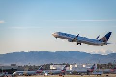 United Airlines Jet Takes Off at Los Angeles International Airport LAX royalty free stock photography