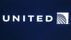 United Airlines logo. White image on blue background Stock Photo