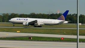 United Airlines plane landing in Frankfurt Airport, FRA. United Airlines airplane lands on runway in Frankfurt Airport, FRA, Germany stock footage