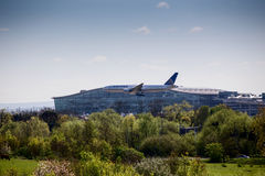 United Airlines Plane Landing at Heathrow Airport Stock Image
