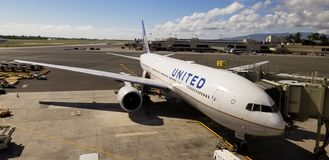 United Airlines Plane at the Terminal stock images
