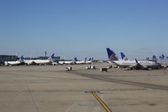 United Airlines planes at the gate at O'Hare International Airport in Chicago Royalty Free Stock Photos