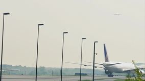 United Airlines taxiing in Frankfurt Airport, FRA. United Airlines doing taxi in Frankfurt Airport, FRA, Germany stock video footage