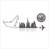 United Arab Emirate Skyline Buildings Silhouette Background Stock Photo