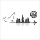 United Arab Emirate Skyline Buildings Silhouette Background Stock Photo