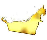 United Arab Emirates 3d Golden Map Stock Photo