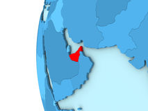 United Arab Emirates on blue globe Royalty Free Stock Images