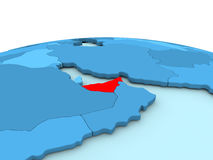 United Arab Emirates on blue globe Royalty Free Stock Image