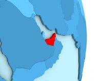 United Arab Emirates on blue political globe Royalty Free Stock Photos