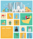 United Arab Emirates Decorative Icons Set Stock Photography