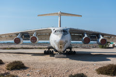 United Arab Emirates, Dubai, 07/11/2015, abandoned cargo plane left in the desert in Umm Al Quwains. Abandoned cargo plane left in the desert in Umm Al Quwains royalty free stock image