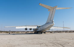 United Arab Emirates, Dubai, 07/11/2015, abandoned cargo plane left in the desert in Umm Al Quwains. Abandoned cargo plane left in the desert in Umm Al Quwains royalty free stock photo