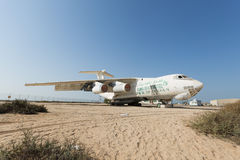 United Arab Emirates, Dubai, 07/11/2015, abandoned cargo plane left in the desert in Umm Al Quwains. Abandoned cargo plane left in the desert in Umm Al Quwains stock photos
