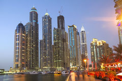 The United Arab Emirates . Dubai. Mostly all the skyscrapers are located in two places of Dubai, along Sheikh Zayed road and the Dubai Марина.Этот Royalty Free Stock Photography