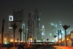 United Arab Emirates: Dubai skyline at night Royalty Free Stock Photos