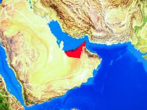 United Arab Emirates on Earth with borders. United Arab Emirates from space on model of planet Earth with country borders and very detailed planet surface. 3D royalty free illustration