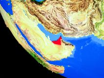 United Arab Emirates on Earth from space. United Arab Emirates on realistic model of planet Earth with country borders and very detailed planet surface. 3D royalty free illustration