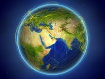 United Arab Emirates en la tierra con las redes ilustración del vector