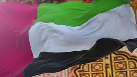 United Arab Emirates flag. stock footage
