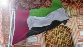 United Arab Emirates flag. Amazing waving slow motion United Arab Emirates flag stock footage