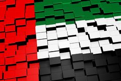 United Arab Emirates flag background formed from digital mosaic tiles, 3D rendering. Modern 3D rendered concept of numerous square tiles sliding together to form Stock Photo