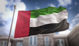 United Arab Emirates Flag 3D Rendering on Blue Sky Building Back Royalty Free Stock Image