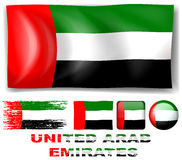 United Arab Emirates flag in different designs Royalty Free Stock Images