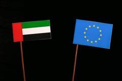 United Arab Emirates flag with European Union EU flag  on black Stock Photography