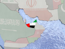 United Arab Emirates with flag on globe Royalty Free Stock Image
