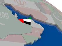 United Arab Emirates with flag Stock Images