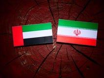 United Arab Emirates flag with Iranian flag on a tree stump isol Stock Image