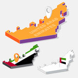 United Arab Emirates flag on map element with 3D isometric shape isolated on background Royalty Free Stock Photos