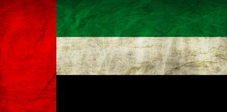United Arab Emirates Flag on Paper. Flag on an old Paper Texture Royalty Free Stock Photography