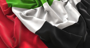 United Arab Emirates Flag Ruffled Beautifully Waving Macro Close. Up Shot Studio Stock Image